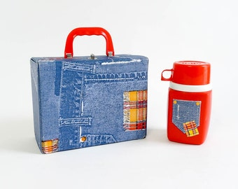 Vintage 1970s Lunchbox / Denim Vinyl Lunchbox and Thermos / 70s Kid Back To School Supply Food Storage Red White Blue Collectible