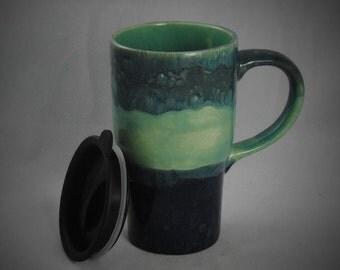 Blue Green Ceramic Travel Mug with a lid
