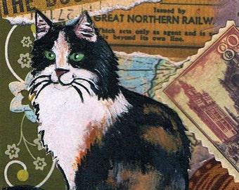 Calico Cat Original Mixed Media ACEO Collage One of a Kind Miniature Art