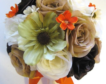 "Wedding Silk Flowers Bridal Bouquet BROWN MOSS Green ORANGE Champagne Gold Cream 17 Piece package Bouquets arrangements  ""RosesandDreams"""