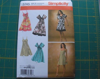 Simplicity 3745 Misses Dress in Two Lengths Sizes 14-22 sewing pattern