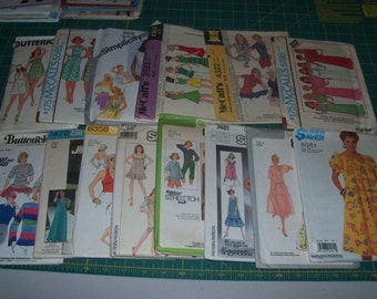 Mixed Lot of 14 Vintage Sewing Patterns for Misses Clothing Size Small