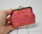 Coin Purse -  Gold and Hot Pink Flowers