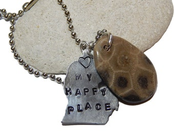 "Polished Petoskey Stone Pendant Hand Stamped ""my happy place heart"" hand polished beach stone, up north Michigan, Lake stone, beach fossil"