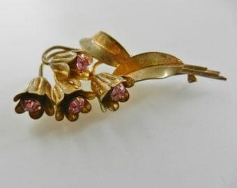 Ancient golden branch bluebell flowers dazzling pink rhinestones brooch - 1930s rare  british brooch  - numbered Brooch -art.309/4 -