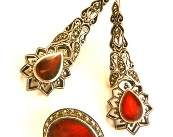 Gorgeous vintage glamour marcasite and carnelian brooch and earrings set in 925  sterling - Late 1940s revival Victorian era - Art.304/4 -