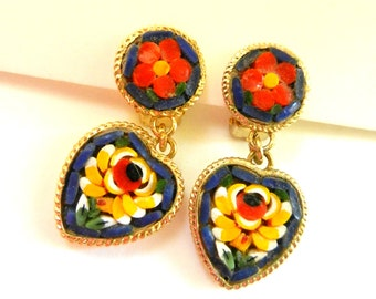 Vintage Real Italian Floral  Micro Mosaic Heart dangle Earrings  - antique Florentine art - 1950s italian micro mosaic - art.88/4 -