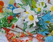 Vintage Large Bouquet Stem Lot French Hand Made Beaded Glass Seed  Beads FLOWERS.