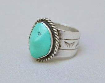 Vintage Sterling Ring . Simulated Turquoise Band Ring . Stamped