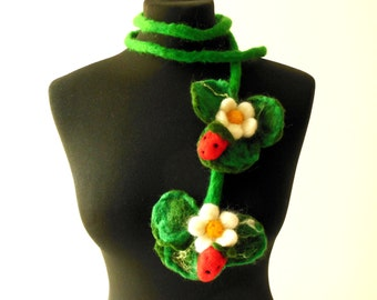 felted strawberries scarf statement necklace lariat, christmas gift