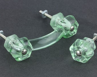 "4 Pulls and 4 Knobs Bottle Green Glass 1-1/4"" Knobs Other Combinations Possible"
