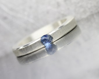 Modern Raw Blue Montana Sapphire Ring Sterling Silver Simple Rough Gemstone Band Flush Set September Birthstone Gift Idea Wife - Sky Break