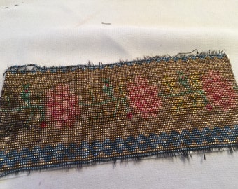 Fabulous Antique French steel cut bead purse panel Gold tone brass  Tubes Green pink and blue bead stock or re purpose