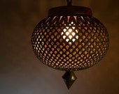 RESERVED for Lauran Swag Lamp, Boho Moroccan Style, Pierced Brass, Local Pick Up Available, Tested and Working