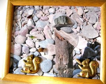 Upcycled Brass Squirrels, Rock Art, Found Object Collage