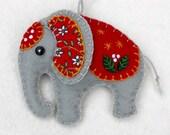 Felt elephant ornament,Handmade elephant Christmas ornament,Felt Christmas ornament,Elephant decoration,Felt Christmas elephant ornament.CIJ