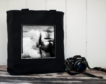 Canvas Bag - Come Fly With Me - Black or Natural Tote Bag - Vintage Photo - Carryall Tote