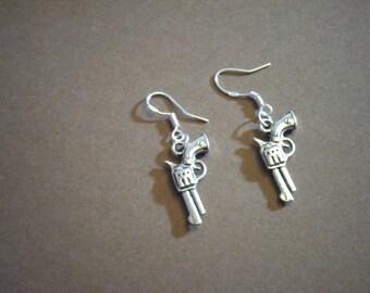 Pistol Earrings, Gun Earrings, Revolver Earrings, Cowboy Earrings,  Dangle Earrings