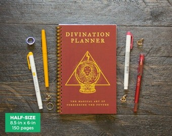 Divination Planner - Red  / Weekly / Half-Size / 12 Months / Choose Your Layout (Vertical/Horizontal) / Pick Your Starting Month