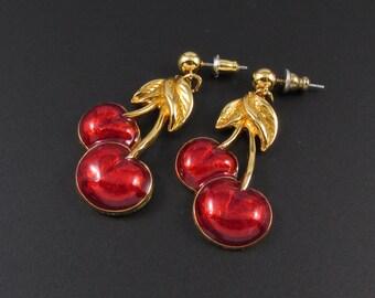 Avon Cherry Earrings, Cheery Cherry Earrings, Avon Earrings, Fruit Earrings, Red Earrings