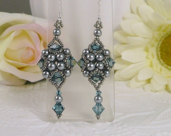 Woven Silver Grey Dangle Earrings with Denim Blue Swarovski Crystals