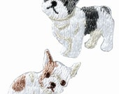 2 Dog Embroidered Iron On Patch, Japanese Iron on Applique, Made in Japan, Cute Puppy, Animal Embroidery Applique, Sewing Accessories, W050