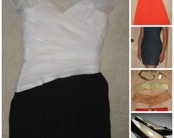 Vintage LOT at least 15 items women clothes dress blouse blazer belts shoe size Small Medium Large