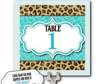 Table Number Cards, Food Labeling Cards, Table Signs, Animal Prints, Cheetah Print, Hot Pink, Turquoise, Bridal or Baby Shower, Birthday