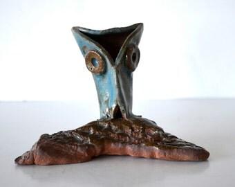 Vintage Mid Century Brutalist Pottery Owl Sculpture Figurine Signed