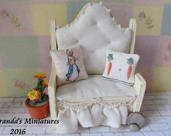 Dollhouse Miniature Benjamin Bunny BEATRIX POTTER Bunny Pillows