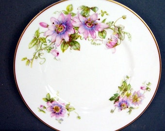 Royal Doulton Plate , Signed P. Curnock, Passion Flower Symbol Of Peace Plate, Bone China Made in England Plate, Collectors Plate,