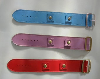Lot of 3 Mid-Century Colorful Watch Bands with Snaps to add different Watches