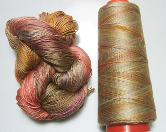 100% Pure Mulberry Queen Silk Yarn 50 gram 3 Ply Lace Weight Desert Morning QS023 Lot J - Hank or Cone