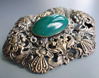 Vintage Czech Brass Brooch Jade Green Glass