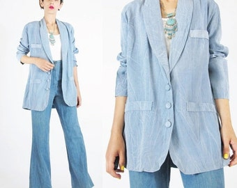 25% off SALE 25 Percent OFF SALE 80s Vintage Womens Blue Blazer Tie Dye Blazer Chambray Jacket Indigo Faded Womens Suit Jacket Button Up Sum