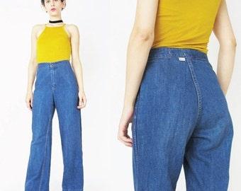 1970s Bell Bottom Blue Jeans Womens 70s Jeans High Waist Blue Jeans Wide Leg Pants Boho Blue Jeans Vintage Denim Flared Jeans (S)