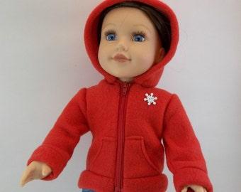 Hoodie Jacket Fits American Girl 18 inch Doll Red Fleece HoodieToys Girl