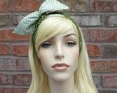 Green Headband, Womens Headband, Teen Headbands, Reversible Headband, Polka Dots and Flowers, Wired Headband, Bunny Ear Headband, Tween