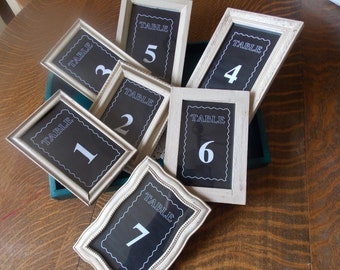 Wedding Table Numbers Shabby Chic Framed Chalkboard Effect Recycled Picture Frame