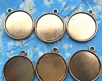 Sale Both sided--20pcs 23mm antiqued gold round picture/photo frame charms/pendants(fit 20mm cabochon)
