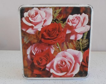 roses...vintage large square biscuit tin
