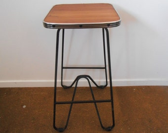 vintage plywood and iron stool