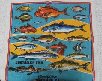 australian fish...vintage souvenir linen tea towel