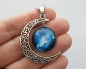 1 Moon cabochon pendant antique silver one NB8-55