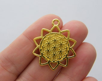 4 Flower of life pendants bright gold tone GC44