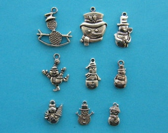 The Snowman Collection - 9 different antique silver tone charms