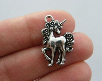 BULK 20 Unicorn charms antique silver tone A559