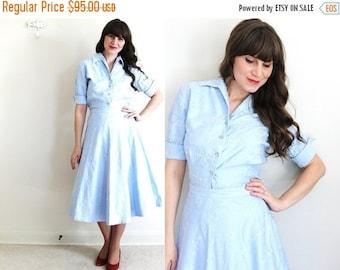 ON SALE 50s Dress / 1950's Dress / 50s Light Blue Dress Skirt Set
