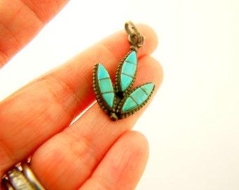 Turquoise Leaf Pendant - Sterling Silver - Vintage