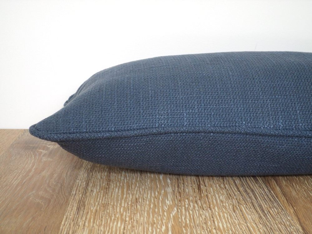 Solid Navy Blue Decorative Pillow : Solid blue pillow cover 20x12 navy blue decorative pillow